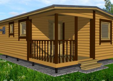 Модульный дом-баня 7х4,6 с террасой