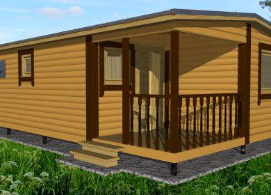 Модульный дом-баня 8х4,6 с террасой