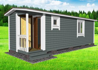 Каркасный мобильный дом 8х2,3 с кладовкой