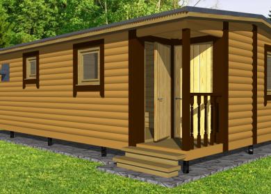 Модульный дом-баня 8х4,6 с кладовкой