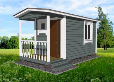 Каркасный мобильный дом 5х2,3 с крыльцом