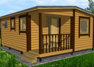 Модульный дом-баня 6х4,6 с крыльцом