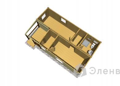 Модульный дом с СУ 8х4,6 с террасой